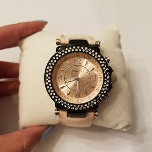 Cute Light Pink and Black Crystal Bezel Watch